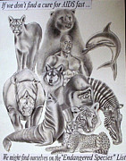 Murals Drawings Prints - Endangered Species Print by Rick Hill