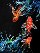 Koi Painting Posters - Endless Journey Poster by Marco Antonio Aguilar
