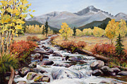 Colorado Mountain Stream Paintings - Endurance by Mary Giacomini