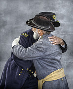 Military Uniform Prints - Enemies no Longer Civil War Grant and Lee Print by Randy Steele