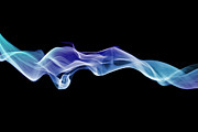 Smoking Trail Prints - Energetic Spirals Of Blue Smoke Print by Anthony Bradshaw