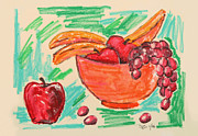 Banana Mixed Media Prints - Energized Fruit Print by Suzanne Blender