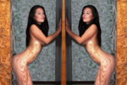 Naked Photographs Prints - Energized Twin Nudes Print by Harry Spitz