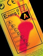 Efficiency Metal Prints - Energy Efficiency Rating Label Metal Print by Sheila Terry