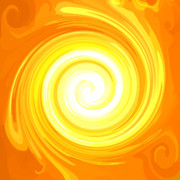 Orange Chakra Posters - ENERGY-Spiral Poster by Ramon Labusch