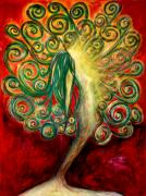 Enlightenment Pastels Posters - Energy Within Poster by Rena Marzouk
