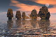 Tall Ships Prints - Engaged Print by Claude McCoy