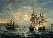 Ships And Boats Framed Prints - Engagement Between the Bonhomme Richard and the  Serapis off Flamborough Head Framed Print by Richard Willis 