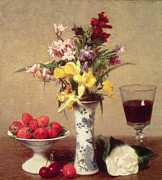 Interior Still Life Painting Metal Prints - Engagement Bouquet Metal Print by Ignace Henri Jean Fantin-Latour