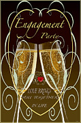 Champagne Mixed Media Metal Prints - Engagement Party Card Metal Print by Debra     Vatalaro