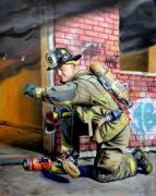 Fireman Paintings - Engine 8s Job by Paul Walsh