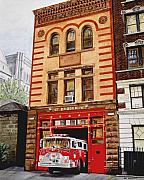 Flame Painting Framed Prints - Engine Company 47 Framed Print by Paul Walsh