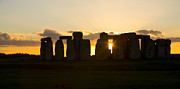 Earthworks Posters - England - Sunset at Stonehenge Poster by Carol Barrington