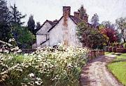 Old England Pastels Prints - England Cottage Print by L Diane Johnson
