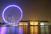 County Hall Prints - England, London, London Eye, Night Print by Davis McCardle