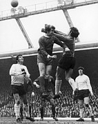 Goalkeeper Framed Prints - England: Soccer Game, 1970 Framed Print by Granger
