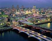 St Photos - England,london,blackfriars Bridge, St.pauls And The City,dusk by Ary Diesendruck