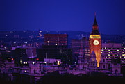 Clock Tower Photos - England,london,view Of Big Ben And City At Night by Will & Deni McIntyre