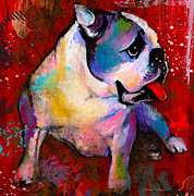 Reds Mixed Media Posters - English American Pop Art Bulldog print painting Poster by Svetlana Novikova