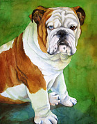 Memorial Painting Posters - English Bull Dog Poster by Cherilynn Wood