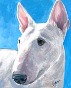 Bull Terrier Paintings - English Bull Terrier on Blue by Dottie Dracos