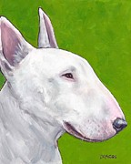 White Dog Prints - English bull terrier profile on Green Print by Dottie Dracos