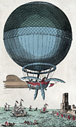 Pioneers Framed Prints - English Channel Balloon Crossing, 1785 Framed Print by Library Of Congress