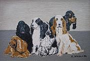 English Cocker Spaniel Posters - English Cocker Spaniel Family Poster by Antje Wieser
