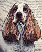 English Cocker Spaniel Posters - English Cocker Spaniel Headshot Poster by Christas Designs