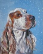 English Cocker Spaniel Posters - English Cocker Spaniel in snow Poster by Lee Ann Shepard