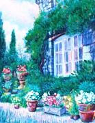 Potted Drawings Metal Prints - English Cottage and Pathway Garden 1 Metal Print by   Armand  Storace