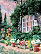 Pots Drawings Prints - English Cottage and Pathway Garden 2 Print by    Armand  Storace