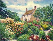 Pathways Framed Prints - English Cottage Garden Framed Print by David Lloyd Glover