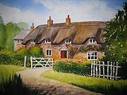 Norfolk; Painting Prints - English Cottage Print by Shirley Braithwaite Hunt