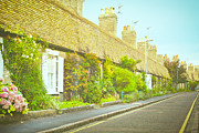 Geranium Photos - English cottages by Tom Gowanlock