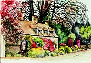 Country Cottage Prints - English Country Cottage Print by Morgan Fitzsimons