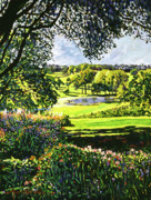 Romantic Gardens Posters - English Country Pond Poster by David Lloyd Glover