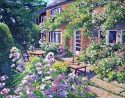 Patios Posters - English Courtyard Poster by David Lloyd Glover