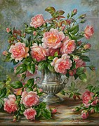 Flower Still Life Painting Framed Prints - English Elegance Roses in a Silver Vase Framed Print by Albert Williams