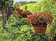 Most Popular Paintings - English Flower Pots by David Lloyd Glover