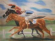 Race Pastels Posters - English Horse Race Poster by Nancy Rucker