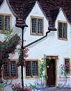 Old House Pastels Posters - English House Poster by Marion Derrett