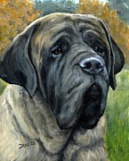Bully Prints - English Mastiff Black Face Print by Dottie Dracos