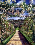 Pathways Painting Framed Prints - English Rose Trellis Framed Print by David Lloyd Glover
