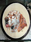 Pet Portraits Pyrography - English Setter by John Tatham