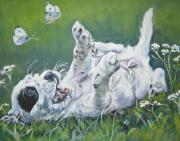 Wildflowers  Painting Prints - English Setter Puppy and Butterflies Print by L A Shepard
