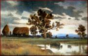 Gleaners Art - English sunset landscape by Not signed