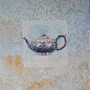 Silver Tea Pot Paintings - English Tea Pot by Violet Taylor