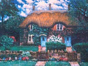 Red Roof Drawings - English Thatched Roof Cottage by    Armand  Storace