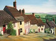 Houses Pastels Posters - English Village 2 Poster by Marion Derrett